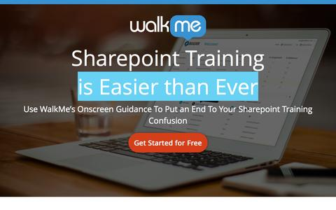 Screenshot of Landing Page walkme.com - Sharepoint Training Use WalkMe's Onscreen Guidance To Put an End To Your Sharepoint Training Confusion - captured Feb. 18, 2016