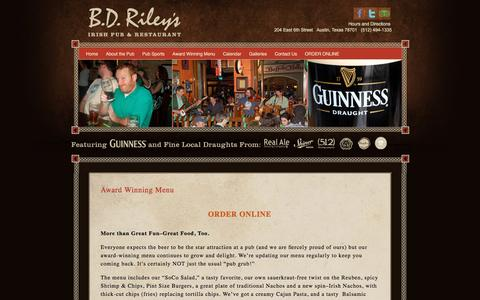 Screenshot of Menu Page bdrileys.com - Award Winning Menu | BD Riley's Irish Pub | 6th Street - Austin Texas - captured Nov. 5, 2016