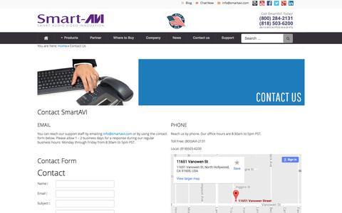 Screenshot of Contact Page smartavi.com - Contact Us - captured Aug. 25, 2016