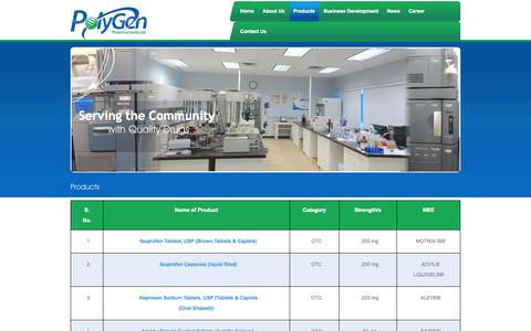 Screenshot of Products Page polygenpharma.com - PolyGen Pharmaceuticals – Drug Product Development and Manufacturing in Edgewood, New York - Products - captured Oct. 27, 2014