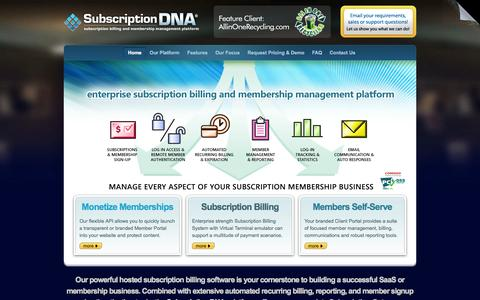 Screenshot of Home Page subscriptiondna.com - Subscription Billing Software, Video and Content Memberships, Group Membership and Billing API, Automated Recurring Billing / Subscription DNA - captured Oct. 6, 2014