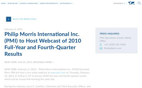 Screenshot of Press Page pmi.com - Philip Morris International Inc. (PMI) to Host Webcast of 2010   Full-Year and Fourth-Quarter Results - captured Nov. 1, 2018
