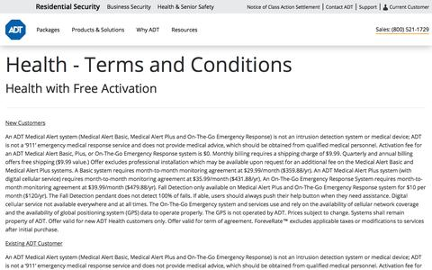 ADT Terms & Conditions for Medical Alert Systems by ADT