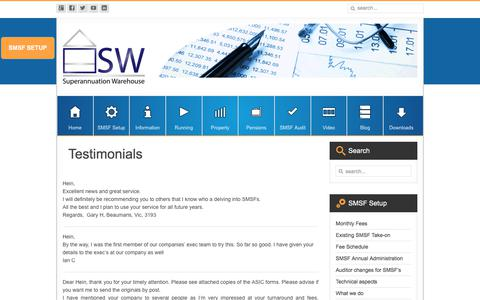 Screenshot of Testimonials Page superannuationwarehouse.com.au - Superannuation Warehouse Testimonials & Reviews - captured Oct. 25, 2017