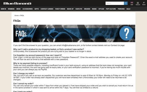 Screenshot of FAQ Page bluebanana.com - Frequently Asked Questions   Blue Banana UK - captured June 1, 2017