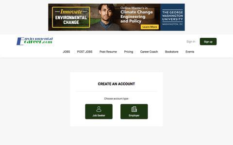 Screenshot of Signup Page environmentalcareer.com - Registration | EnvironmentalCareer.com - captured Sept. 24, 2018