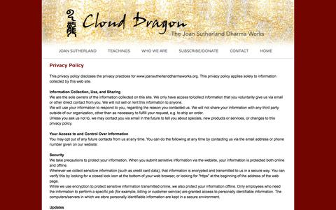 Screenshot of Privacy Page joansutherlanddharmaworks.org - Cloud Dragon: Contact/Privacy Policy - captured May 18, 2016