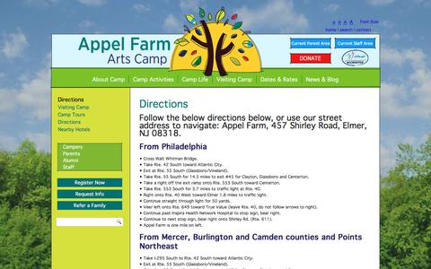 Screenshot of Maps & Directions Page appelfarmartscamp.org - Directions To Appel Farm Camp For Kids | Summer Camp Directions - captured May 30, 2017