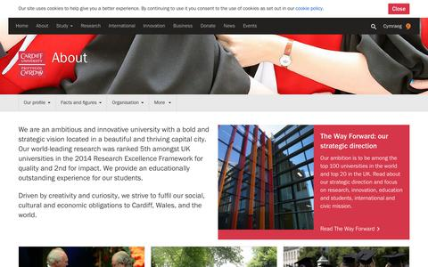 Screenshot of About Page cardiff.ac.uk - About - Cardiff University - captured Sept. 21, 2018