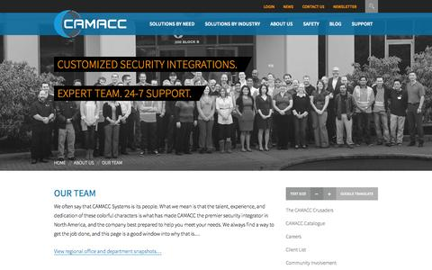 Screenshot of Team Page camacc.com - Our Team - Camacc Systems Inc. - captured Oct. 1, 2014