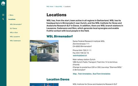 Screenshot of Locations Page wsl.ch - Locations - WSL - captured Sept. 26, 2018
