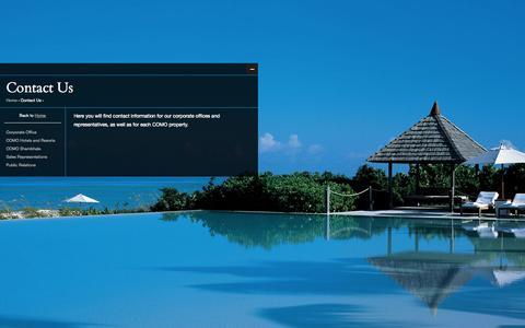 Screenshot of Contact Page comohotels.com - Contact Us | COMO Hotels and Resorts - captured Sept. 19, 2014