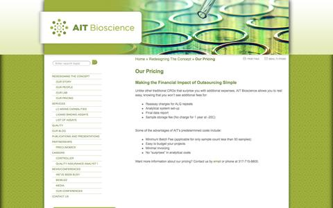 Screenshot of Pricing Page aitbioscience.com - Our Pricing  |  AIT Bioscience - captured Sept. 13, 2014