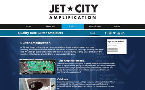 Screenshot of Products Page jetcityamplification.com - Tube Guitar Amps - captured June 8, 2017