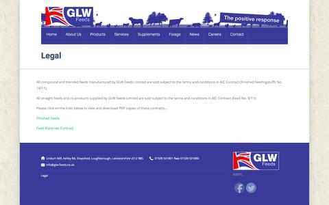Screenshot of Terms Page glw-feeds.co.uk - Legal | - captured Oct. 17, 2016