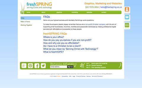Screenshot of FAQ Page freshspring.co.uk - FAQs ~ Christian Print, Web and Hosting ~ freshSPRING Design - captured Sept. 30, 2014
