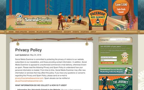 Screenshot of Privacy Page socialmediaexaminer.com - Privacy Policy : Social Media Examiner - captured May 25, 2018
