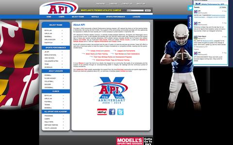 Screenshot of About Page athleticperformanceinc.com - About API - captured Oct. 4, 2014