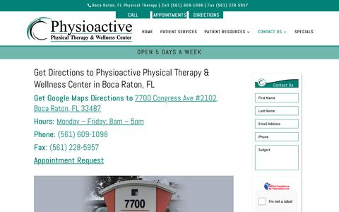 Screenshot of Contact Page Maps & Directions Page physioactivetherapy.com - Get Directions to Physioactive Boca Raton, FL | Physical Therapy - captured Nov. 10, 2018
