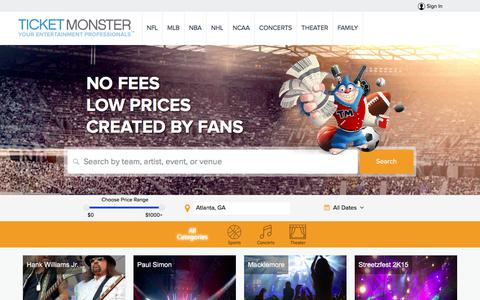 Screenshot of Home Page ticketmonster.com - Tickets | Ticket Monster - Sports, Concerts, Theater Events - captured July 18, 2018