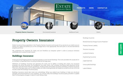 Screenshot of Products Page estateinsurancegroup.com - Property Owners Insurance - EIG - captured Nov. 10, 2016