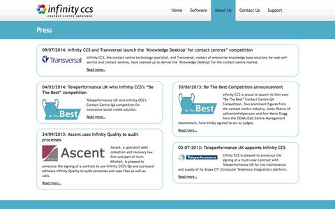 Screenshot of Press Page infinityccs.com - Press  |  Infinity CCS - captured Oct. 6, 2014
