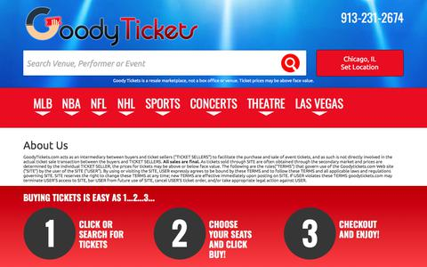 Screenshot of About Page goodytickets.com - About Us | Goody Tickets - captured Feb. 12, 2018