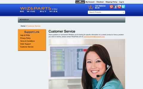 Screenshot of Support Page wizeparts.com - Customer Service - captured Oct. 9, 2014