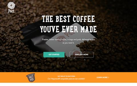 Screenshot of Home Page pactcoffee.com - Pact | Home - captured Feb. 11, 2016