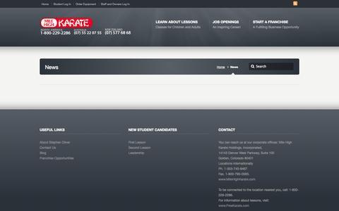 Screenshot of Press Page milehighkarate.com - News –  Mile High Karate – Main - captured Sept. 30, 2014