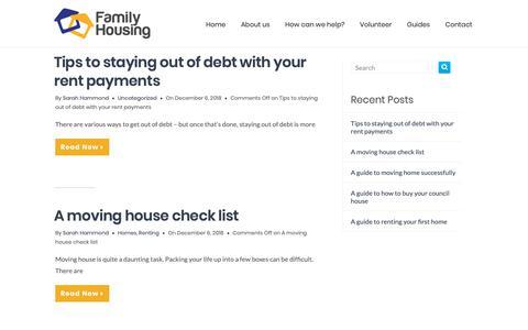 Screenshot of Blog family-housing.co.uk - Guides – The Family Housing Association - captured Dec. 19, 2018