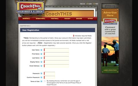 Screenshot of Signup Page coachthis.com - Join CoachTHIS :: CoachTHIS, Where Everyone Is A Coach - captured July 14, 2016