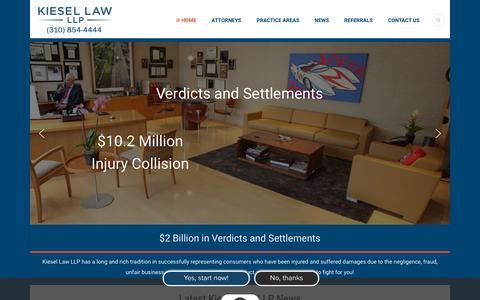 Screenshot of Home Page kbla.com - Home Page - Kiesel Law - captured Nov. 15, 2018