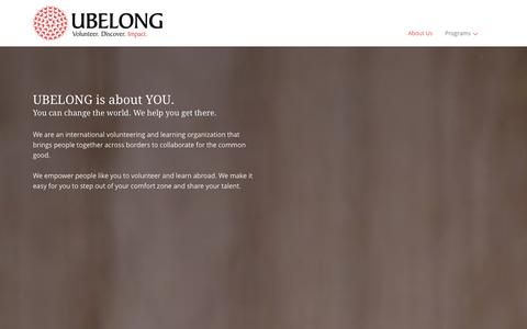 Screenshot of About Page ubelong.org - About Us | UBELONG - captured Sept. 19, 2014