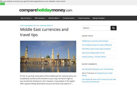 Screenshot of Blog compareholidaymoney.com - Compare Foreign Currency Exchange Rates and Travel Money Suppliers - Compare Holiday Money - captured Dec. 8, 2018