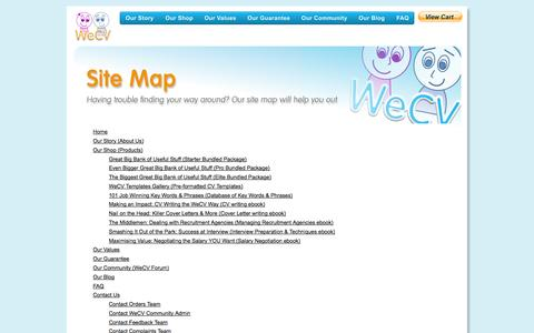 Screenshot of Site Map Page wecv.co.uk - Resource Centre - captured Oct. 1, 2014