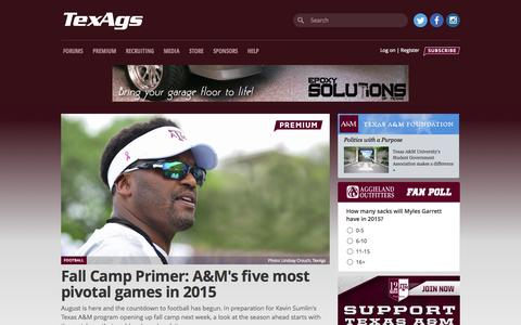 Screenshot of Home Page texags.com - TexAgs - Texas A&M Football, Recruiting, News & Forums - captured Aug. 4, 2015