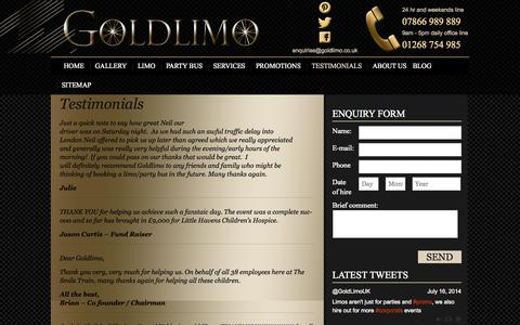 Screenshot of Testimonials Page goldlimo.co.uk - Testimonials | Goldlimo - captured Sept. 30, 2014