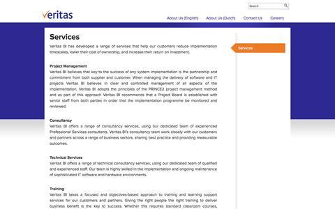 Screenshot of Services Page veritas-bi.com - Services | Veritas BI - Dashboards, Performance Management, KPI, Analytics, Business Intelligence - captured Oct. 9, 2014