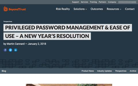 Screenshot of Team Page beyondtrust.com - Privileged Password Management & Ease of Use – A New Year's Resolution | BeyondTrust - captured Jan. 3, 2020