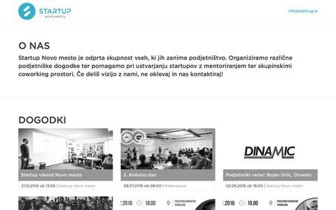 Screenshot of Home Page start-up.si - Startup Novo mesto - captured Dec. 2, 2016