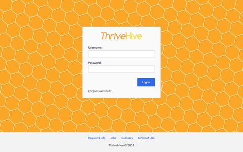 Screenshot of Login Page thrivehive.com - ThriveHive - captured Sept. 13, 2014