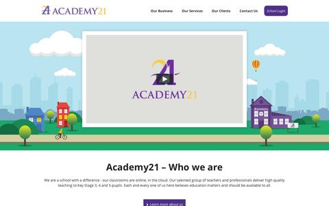 Screenshot of Home Page academy21.co.uk - Academy21 - Who we are - captured Oct. 4, 2014