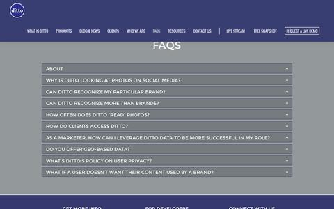 Screenshot of FAQ Page ditto.us.com - FAQs - Ditto Labs, Inc. - captured Feb. 9, 2016