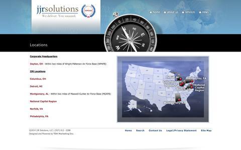 Screenshot of Locations Page jjrsolutions.com - JJR Solutions Locations | Dayton, Ohio | Montgomery, Alabama | Washington D.C. - captured Oct. 4, 2014