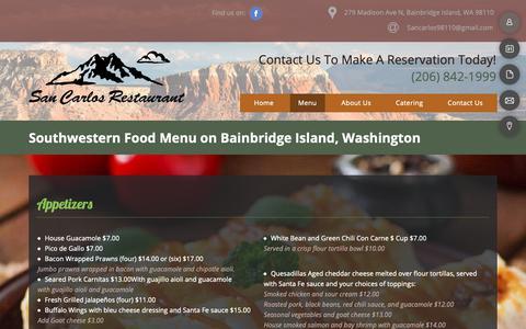 Screenshot of Menu Page sancarlosgrill.com - Mexican Food Menu - Bainbridge Island, WA - San Carlos Bar and Grill - captured Dec. 3, 2018