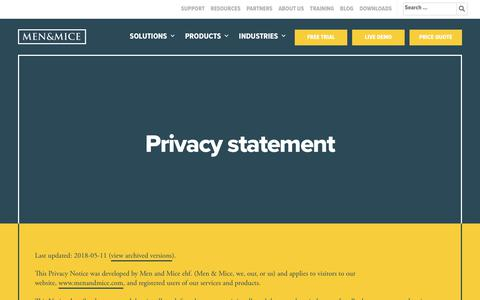 Screenshot of Privacy Page menandmice.com - Privacy statement - Men and Mice - captured Dec. 4, 2019