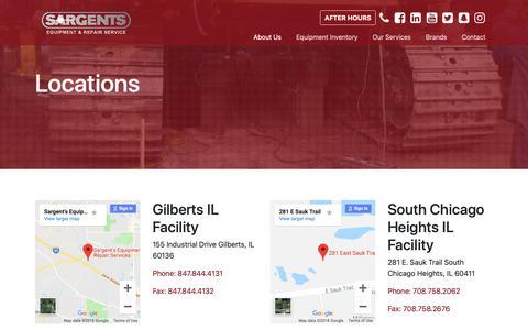 Screenshot of Locations Page sargentsequipment.com - Locations | Sargents - captured Oct. 2, 2018