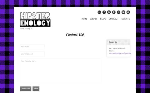 Screenshot of Contact Page hipsterenology.com - Hipster Enology | Contact Us - captured Sept. 30, 2014