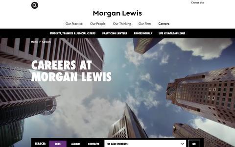 Screenshot of Jobs Page morganlewis.com - Careers at Morgan Lewis - captured March 21, 2019